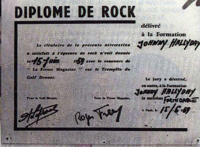 DIPLOME DE ROCK de Johnny Hallyday